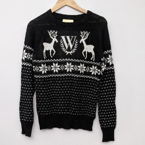 Wildfox White Label Pastel Snow Babe Pullover Reindeer M